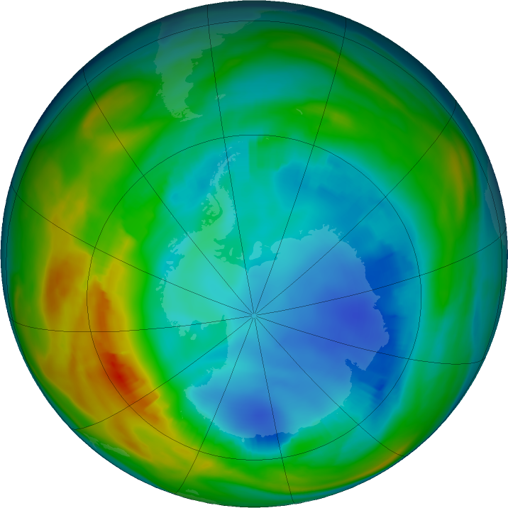 Antarctic ozone map for 02 August 2016