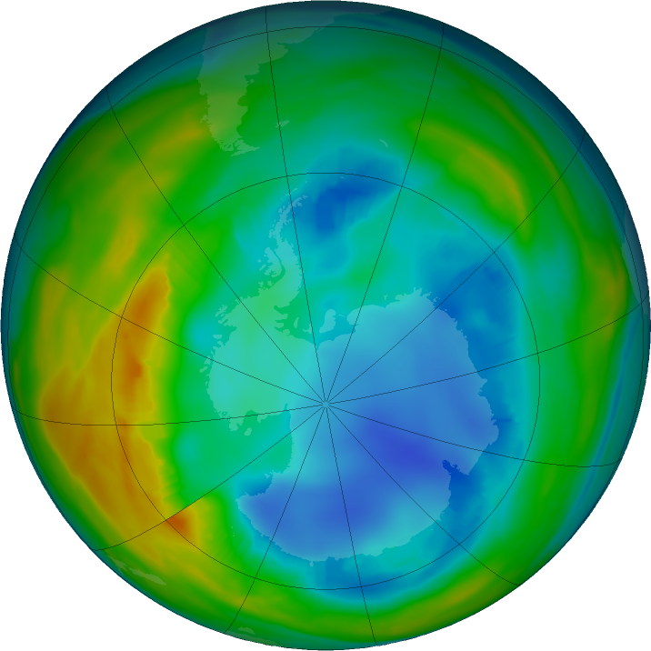 Antarctic ozone map for 03 August 2016