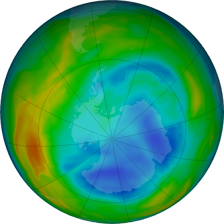 Antarctic ozone map for 05 August 2016