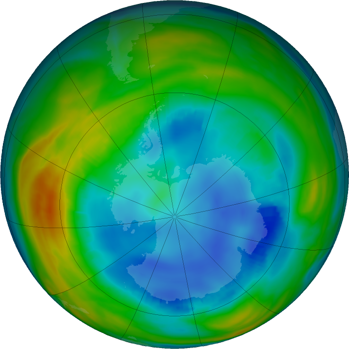 Antarctic ozone map for 06 August 2016