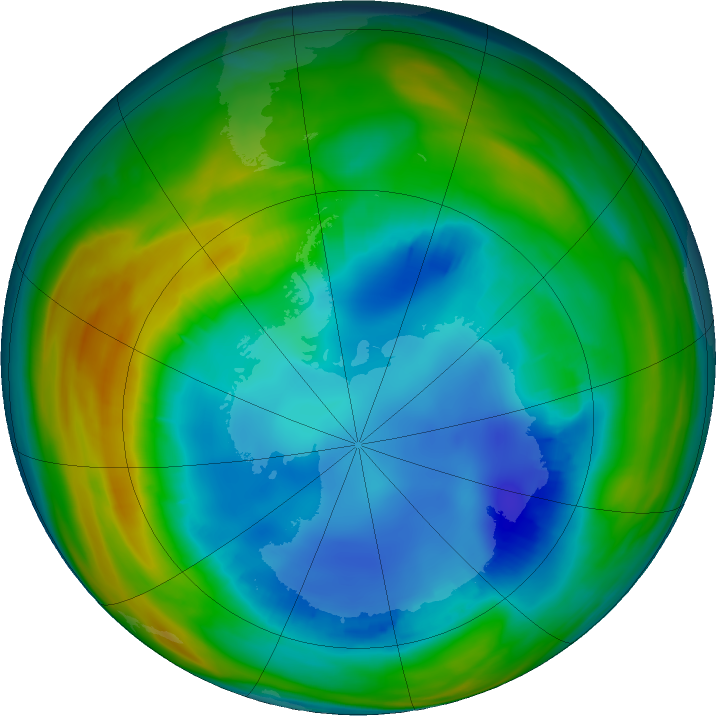 Antarctic ozone map for 07 August 2016