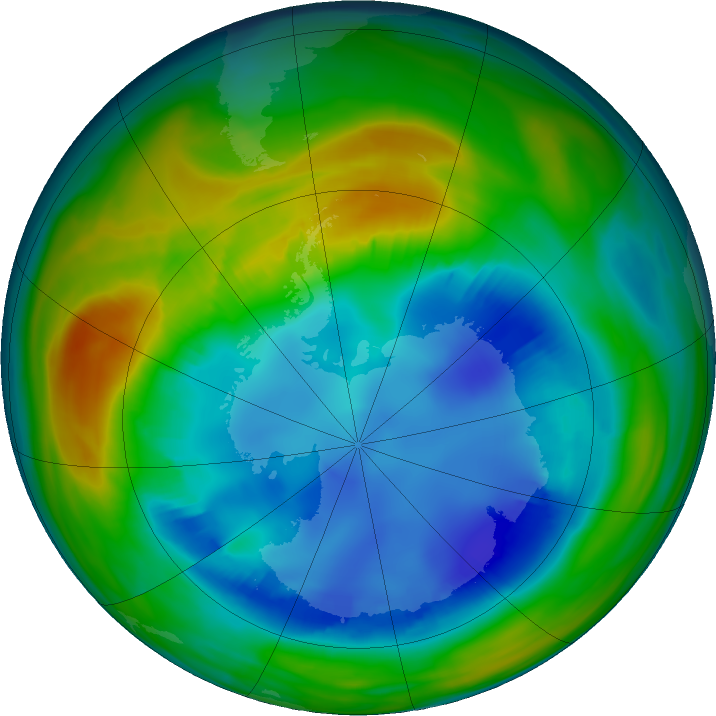 Antarctic ozone map for 10 August 2016