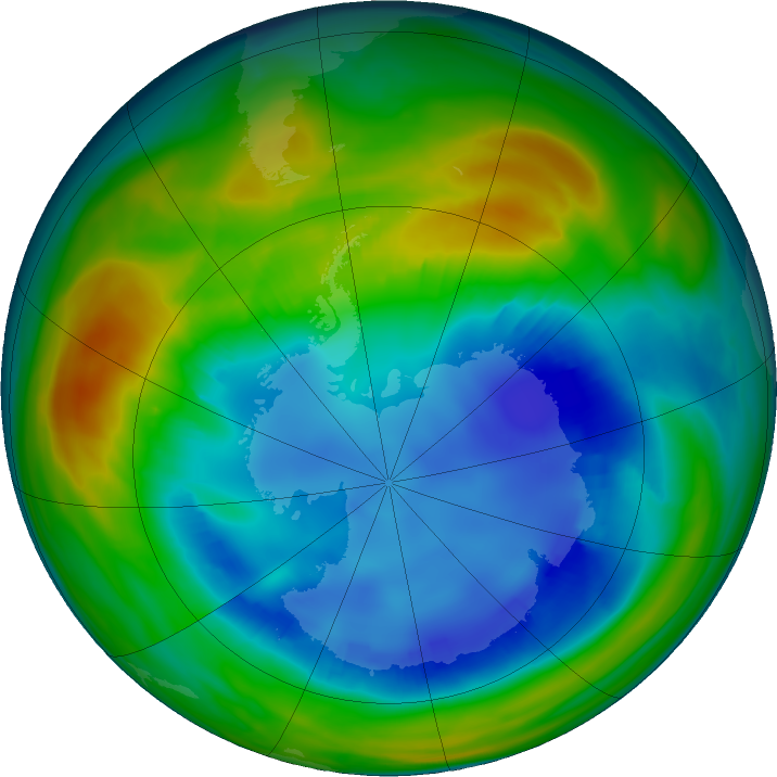 Antarctic ozone map for 11 August 2016