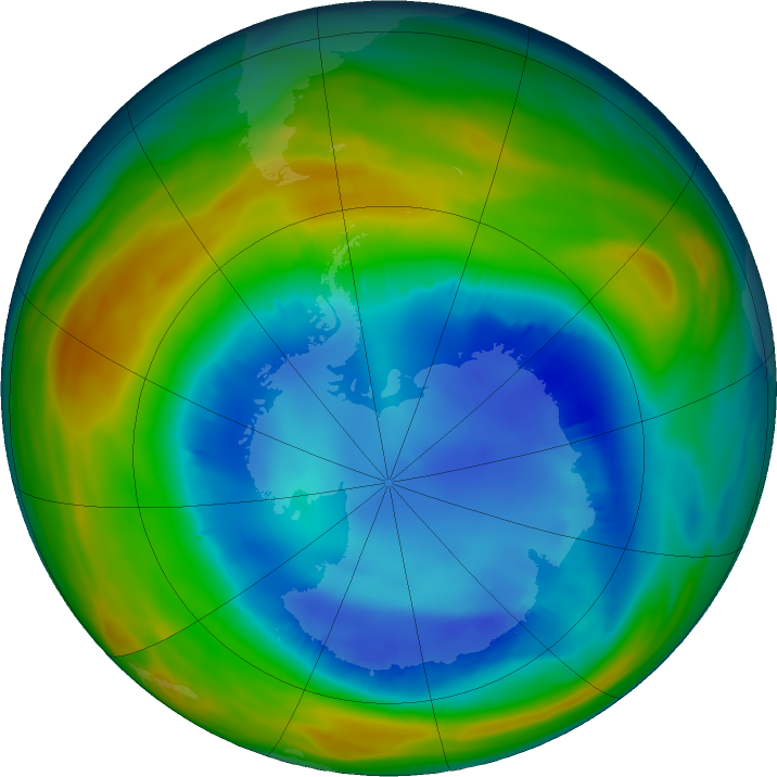Antarctic ozone map for 13 August 2016