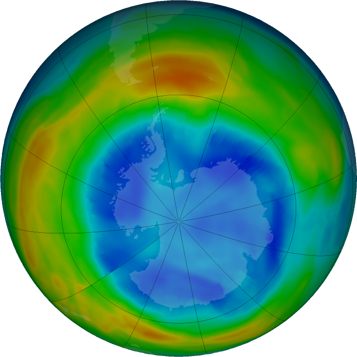 Antarctic ozone map for 14 August 2016