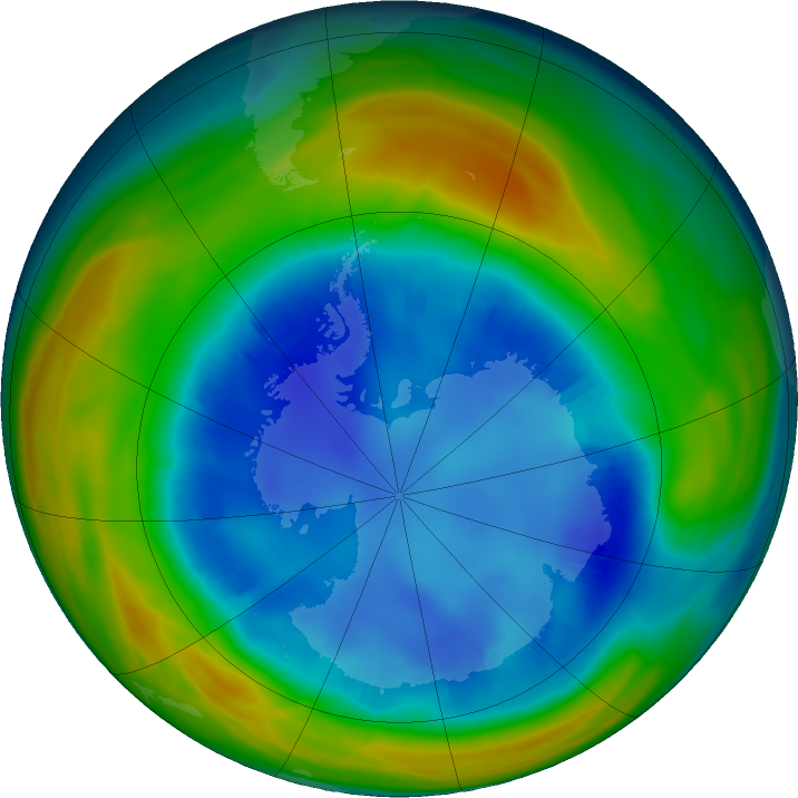 Antarctic ozone map for 15 August 2016