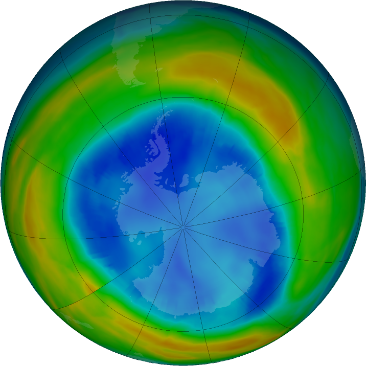 Antarctic ozone map for 16 August 2016