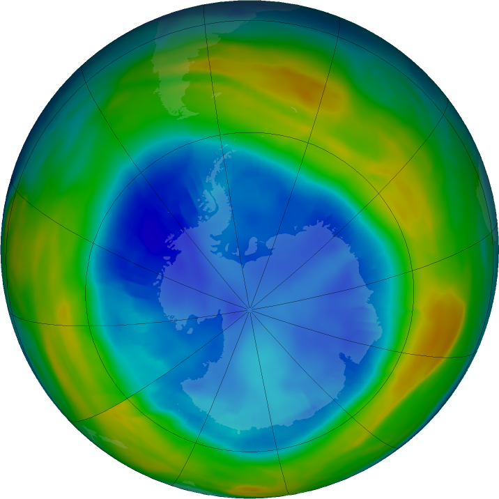 Antarctic ozone map for 18 August 2016