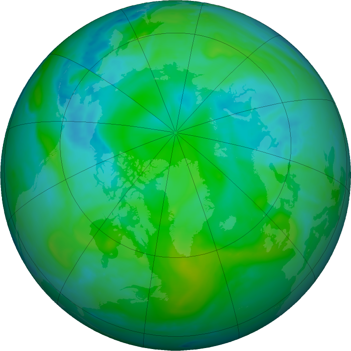 Arctic ozone map for 20 August 2016