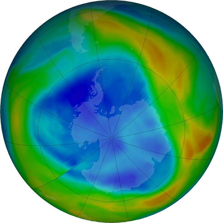 Antarctic ozone map for 20 August 2016