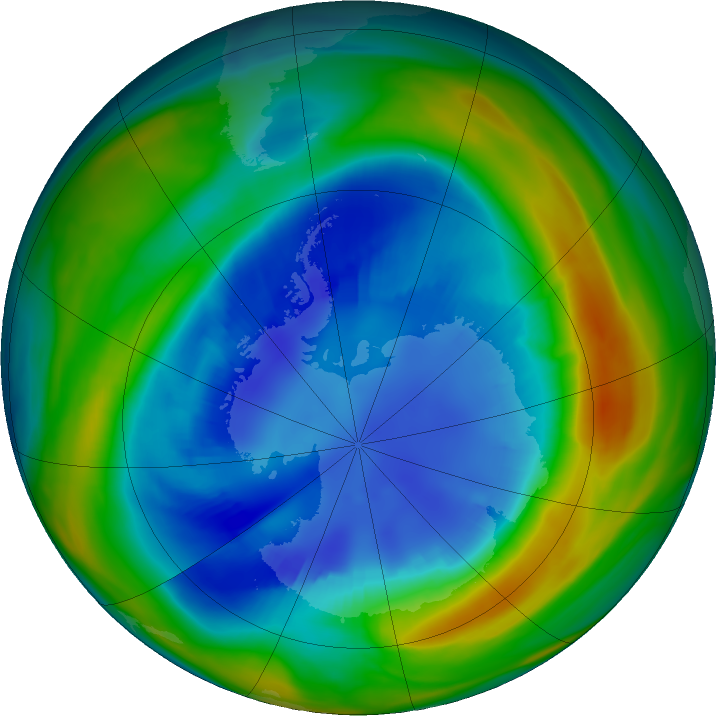 Antarctic ozone map for 24 August 2016