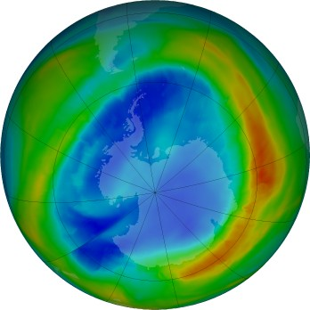 Antarctic ozone map for 2016-08-24