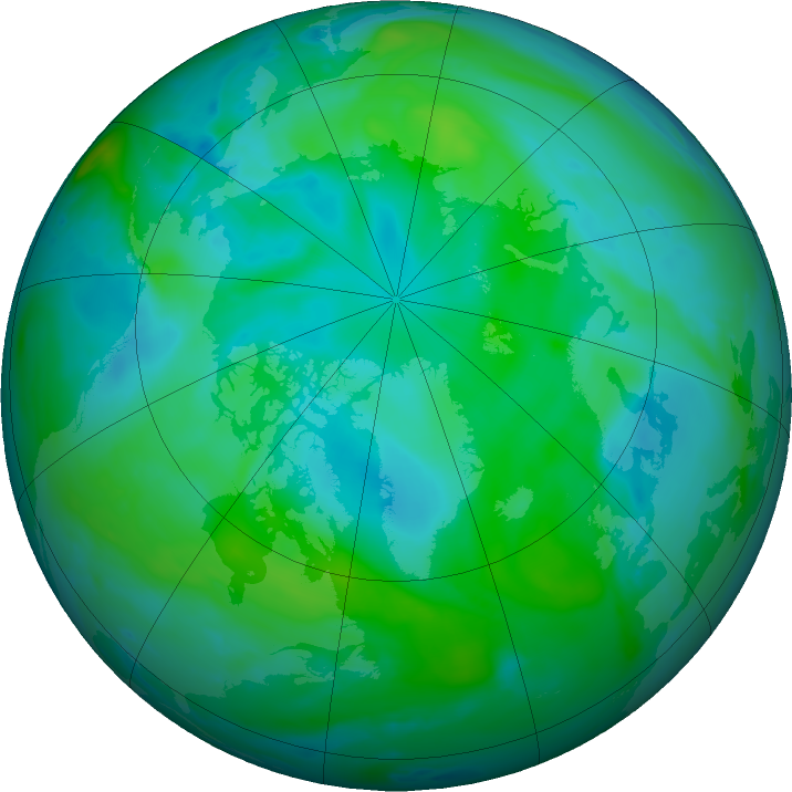 Arctic ozone map for 25 August 2016