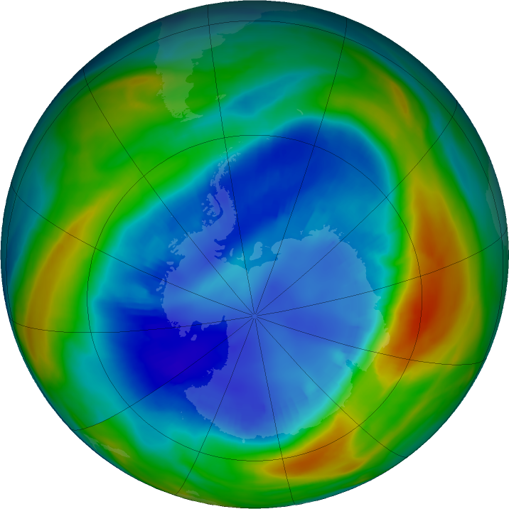 Antarctic ozone map for 25 August 2016