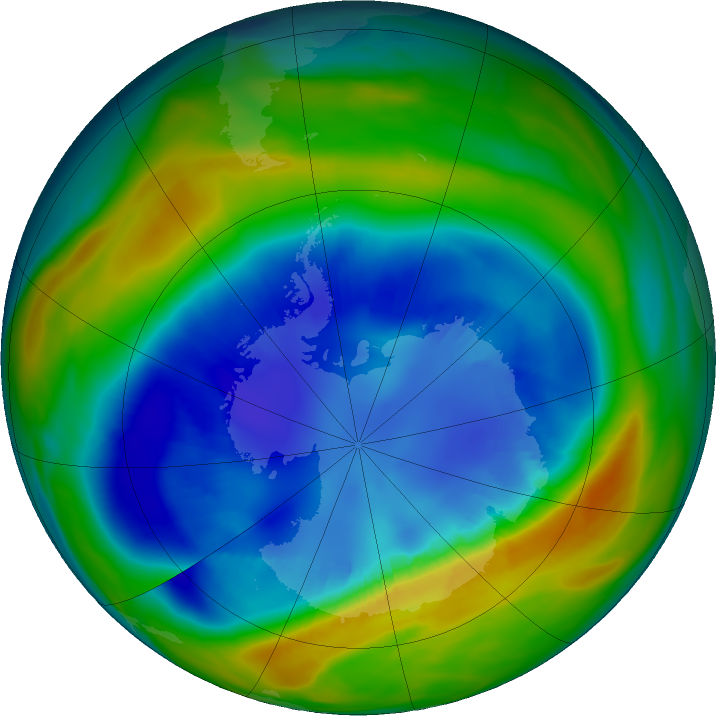 Antarctic ozone map for 27 August 2016