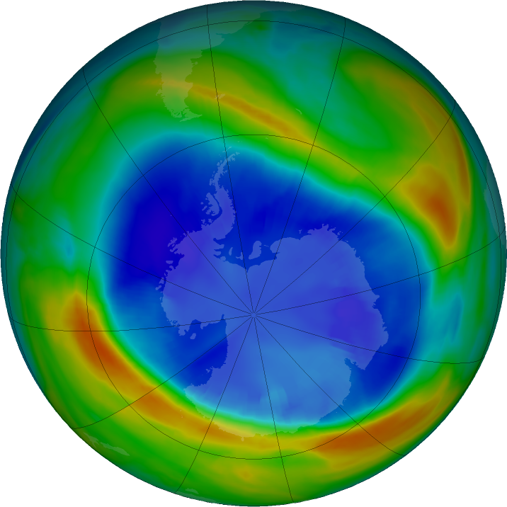 Antarctic ozone map for 31 August 2016