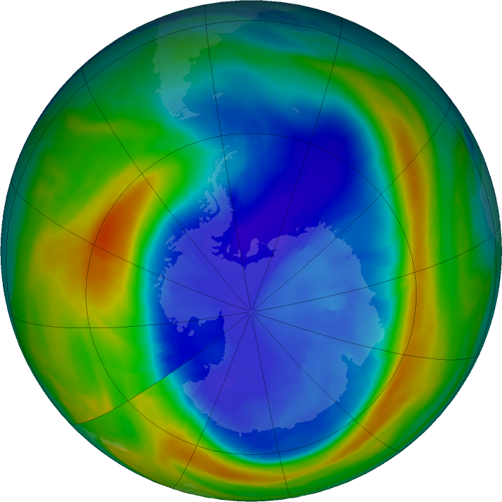Antarctic ozone map for 04 September 2016