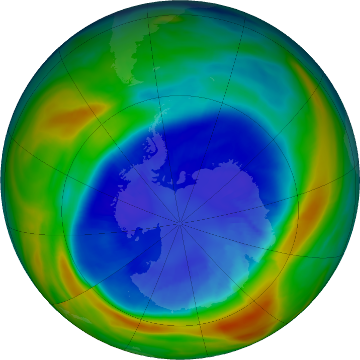 Antarctic ozone map for 06 September 2016