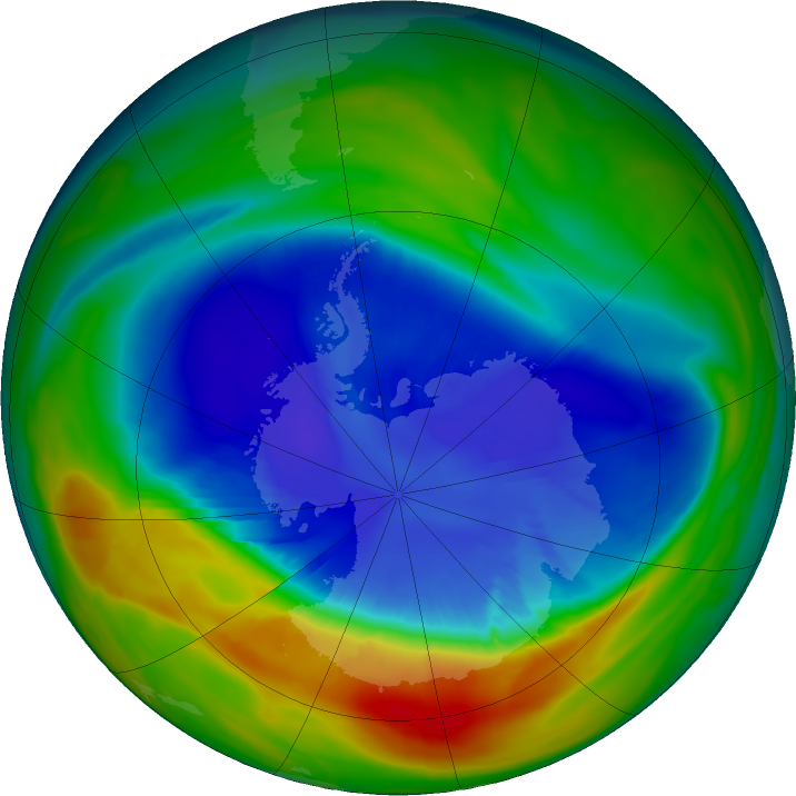 Antarctic ozone map for 09 September 2016
