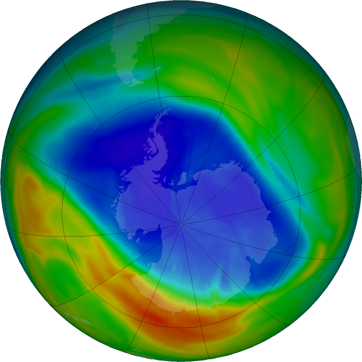Antarctic ozone map for 10 September 2016