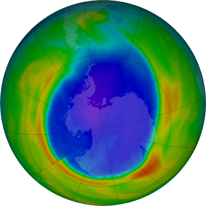 Antarctic ozone map for 13 September 2016