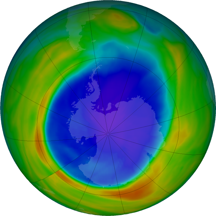 Antarctic ozone map for 14 September 2016