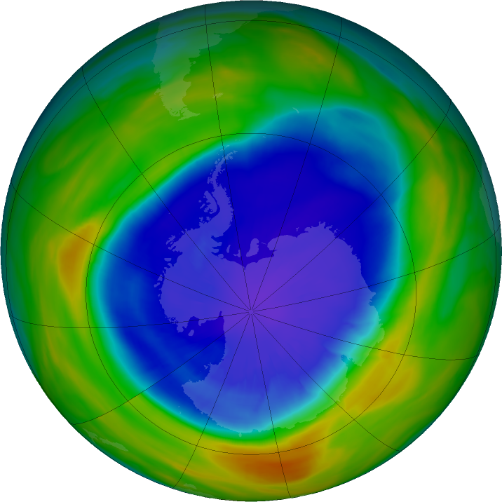 Antarctic ozone map for 15 September 2016
