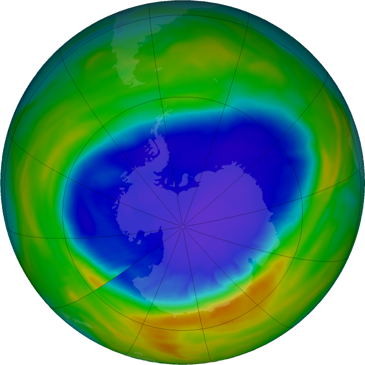 Antarctic ozone map for 16 September 2016