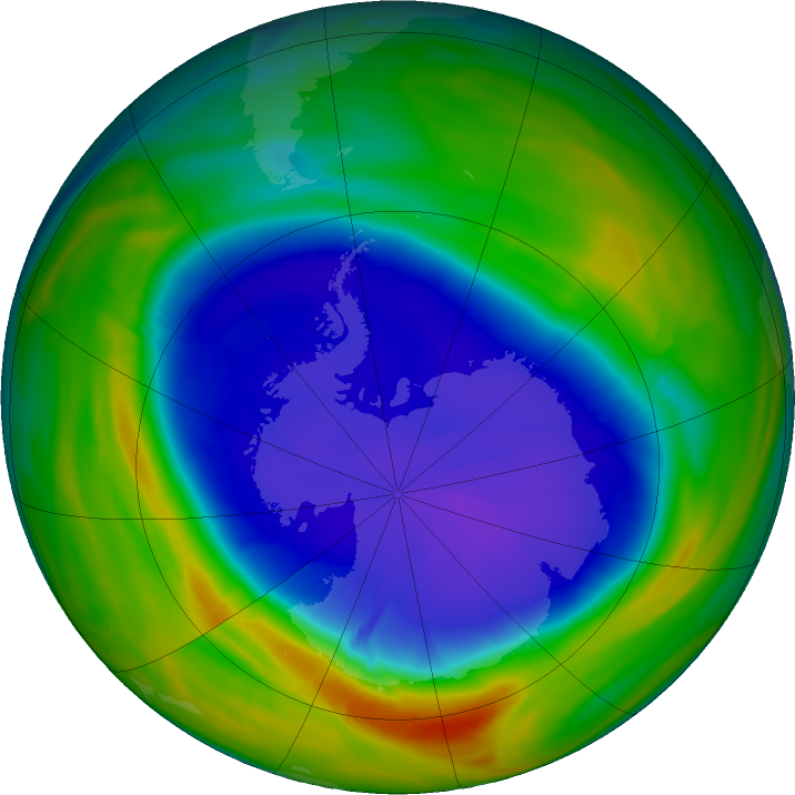 Antarctic ozone map for 18 September 2016