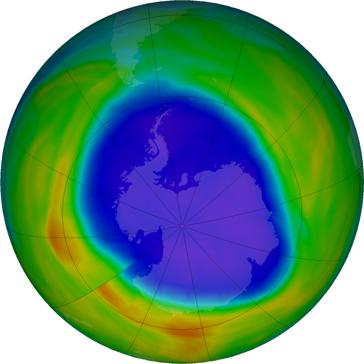 Antarctic ozone map for 19 September 2016