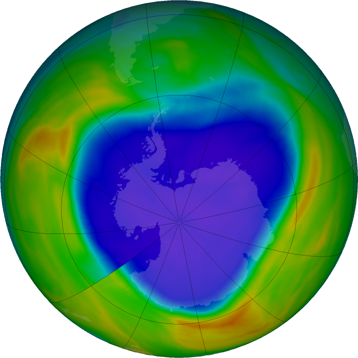 Antarctic ozone map for 21 September 2016