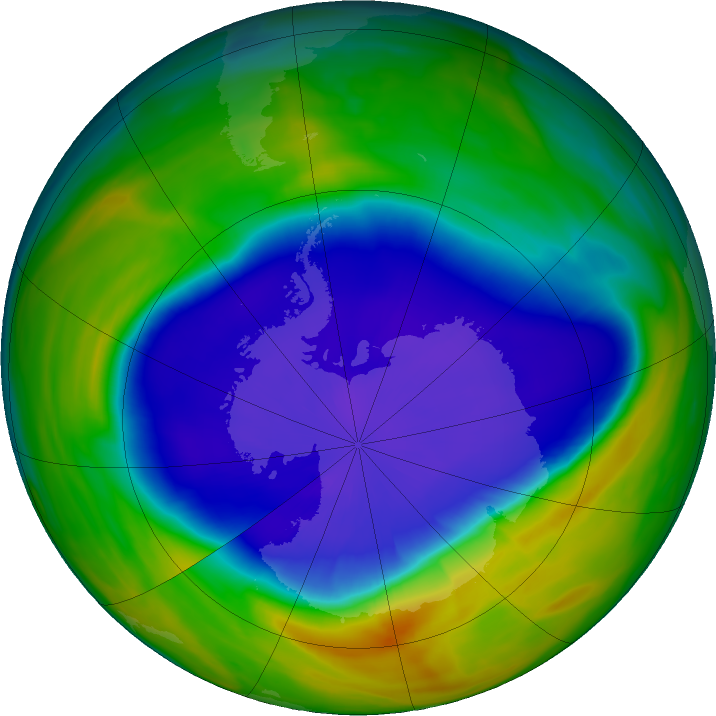 Antarctic ozone map for 22 September 2016