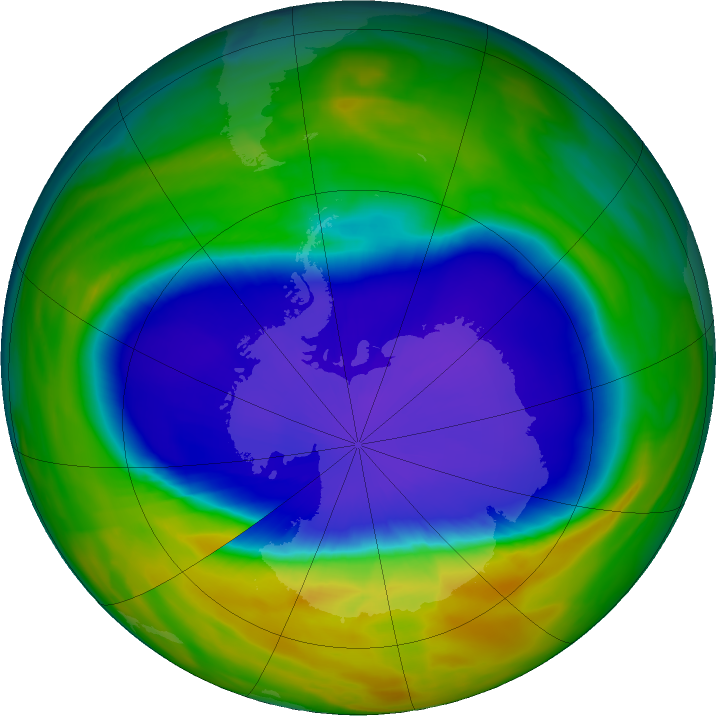 Antarctic ozone map for 23 September 2016