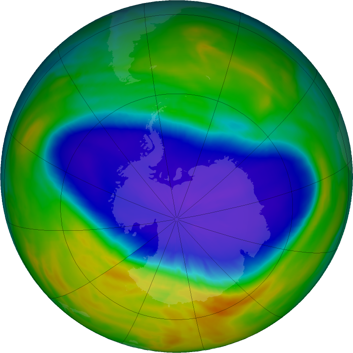 Antarctic ozone map for 24 September 2016