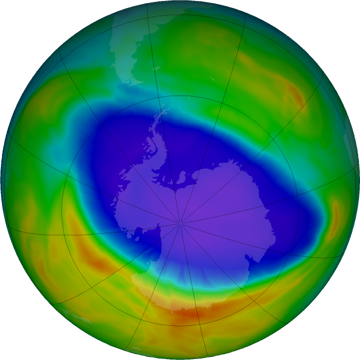 Antarctic ozone map for 25 September 2016