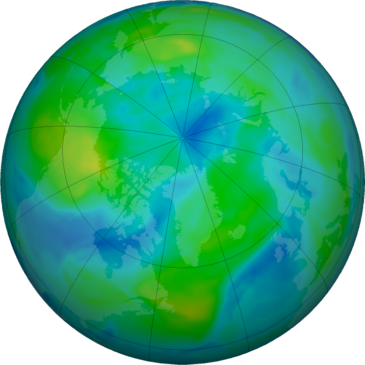 Arctic ozone map for 27 September 2016