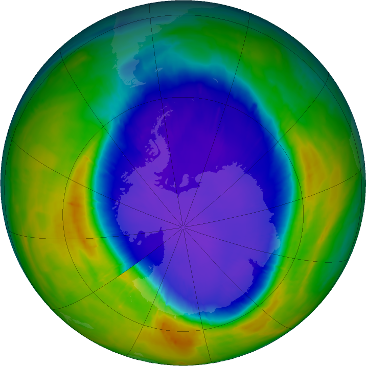 Antarctic ozone map for 28 September 2016