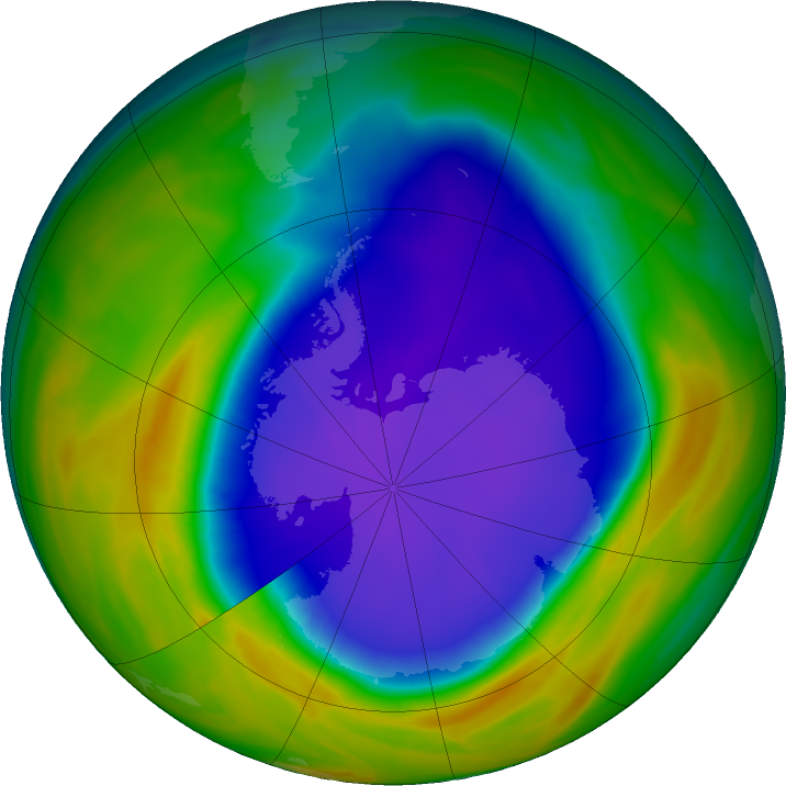 Antarctic ozone map for 29 September 2016
