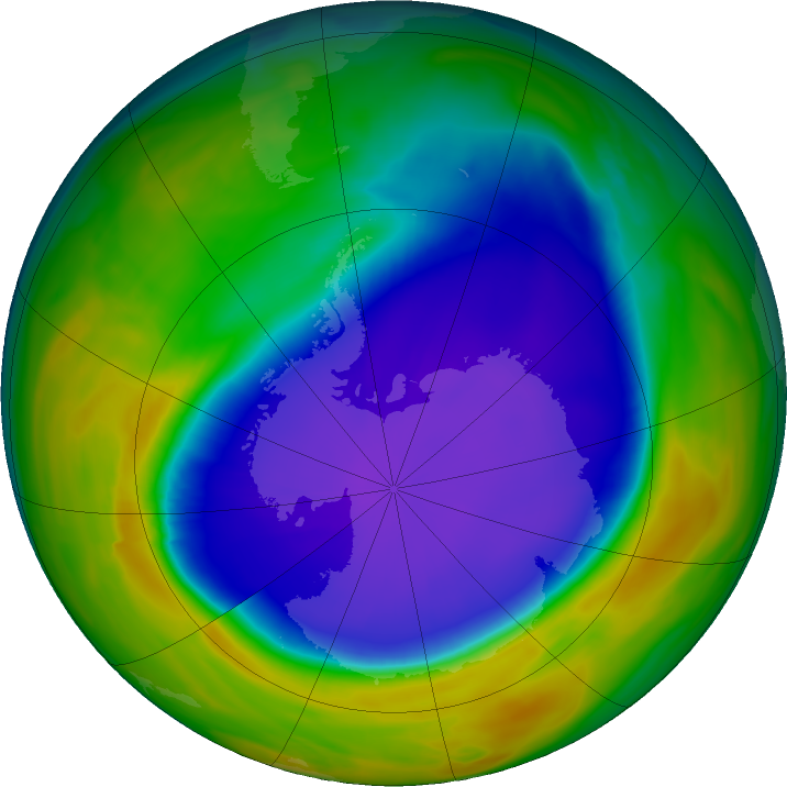 Antarctic ozone map for 30 September 2016