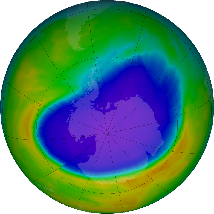 Antarctic ozone map for 01 October 2016