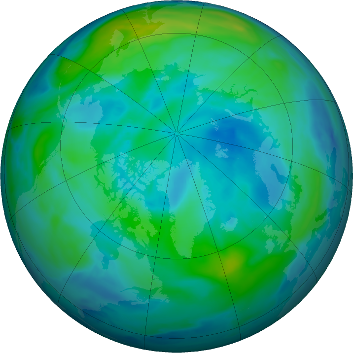 Arctic ozone map for 07 October 2016