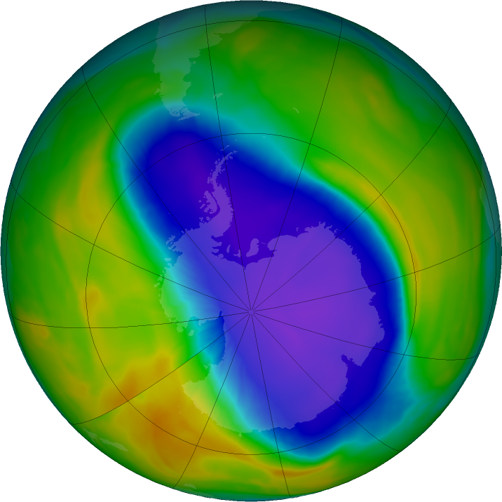 Antarctic ozone map for 08 October 2016