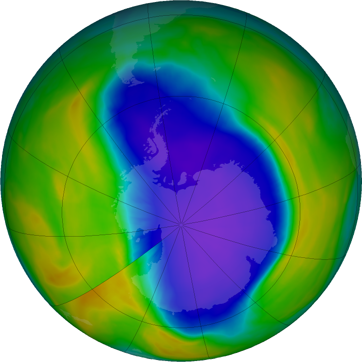Antarctic ozone map for 09 October 2016