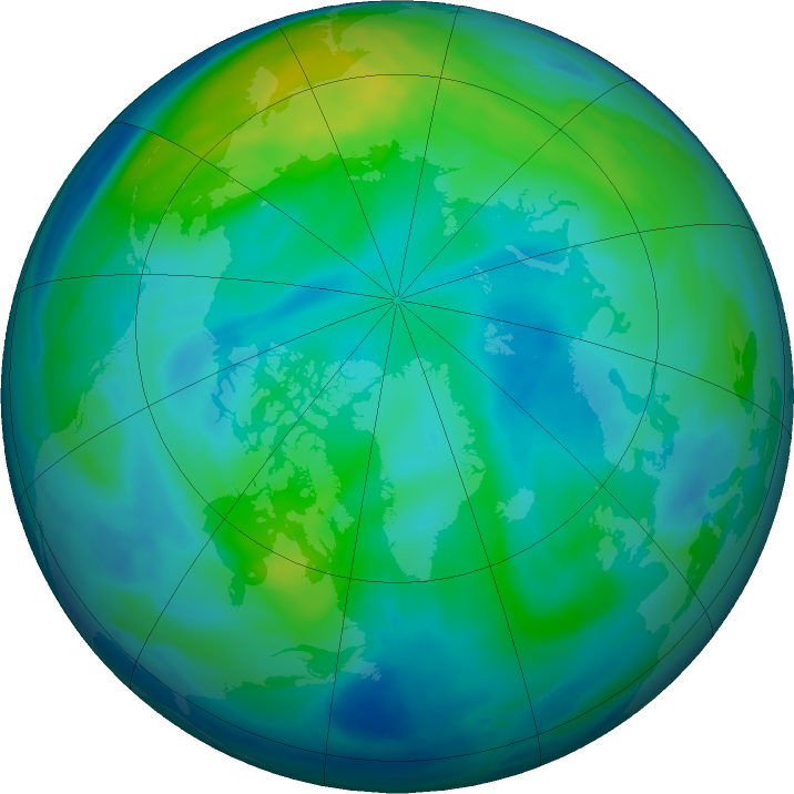 Arctic ozone map for 14 October 2016