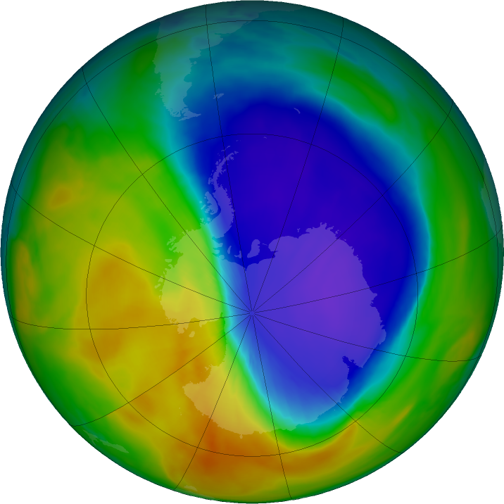 Antarctic ozone map for 18 October 2016