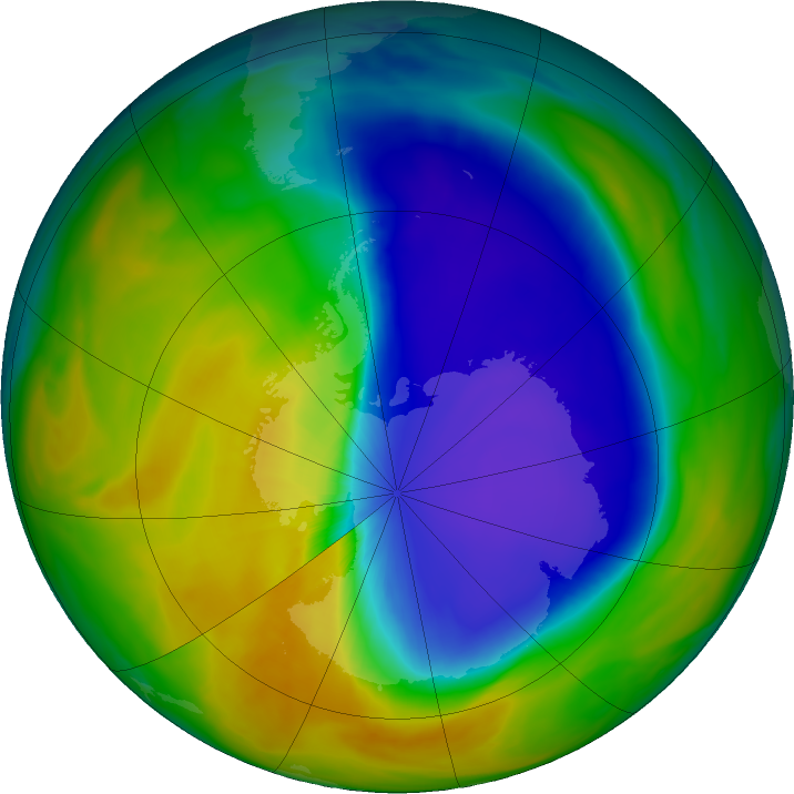 Antarctic ozone map for 19 October 2016