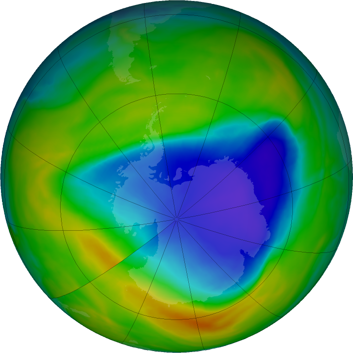 Antarctic ozone map for 25 October 2016