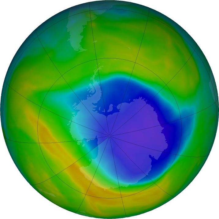 Antarctic ozone map for 26 October 2016