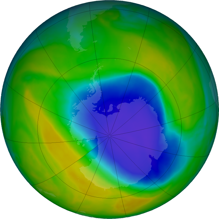 Antarctic ozone map for 27 October 2016