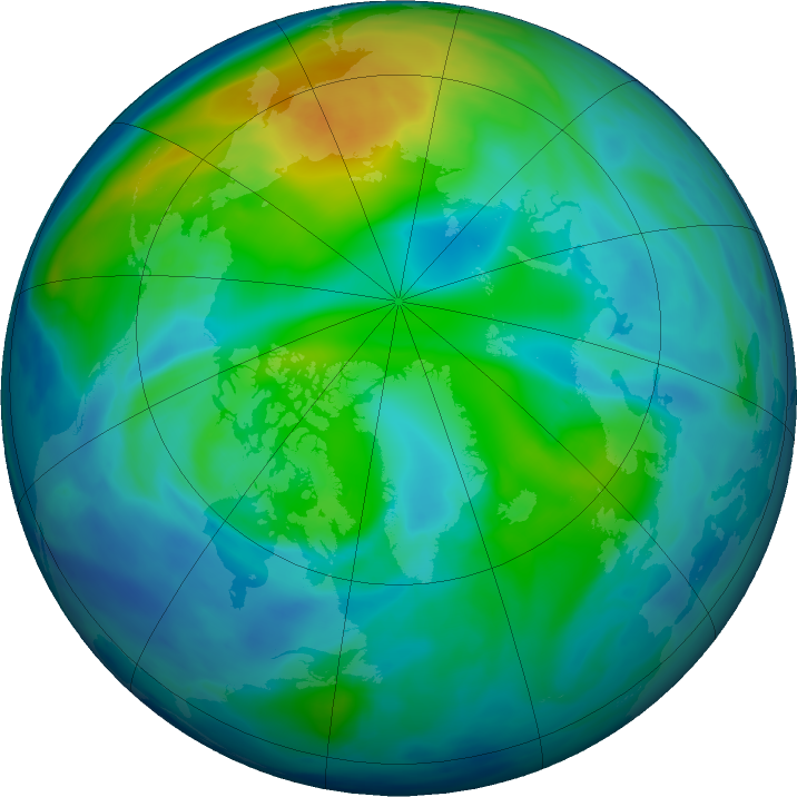 Arctic ozone map for 01 November 2016